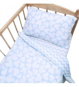 Постельное белье в детскую кроватку 104 Микки  с простыней на резинке