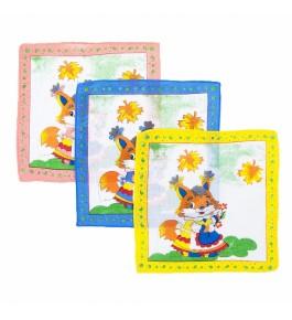 Платки носовые детские 21х21 Лисичка 10 шт.