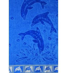 Полотенце велюровое Дельфины